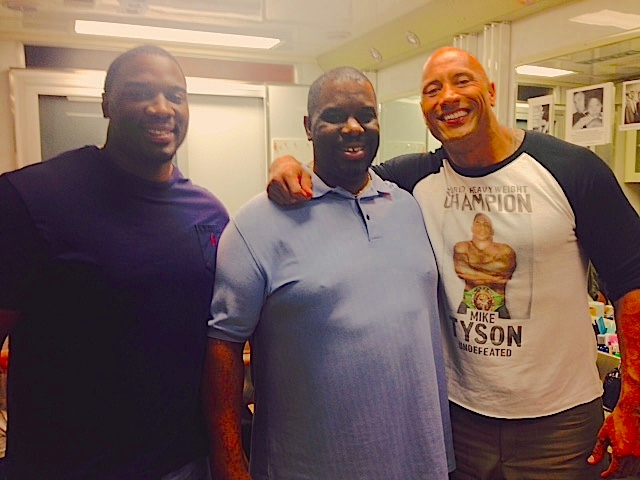 Dovonan Carter and Dad with the Dwayne Johnson
