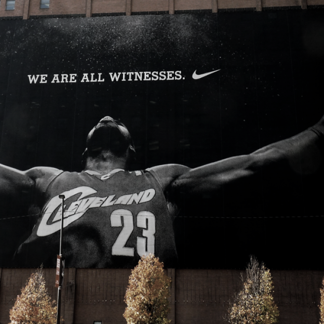 Alex Abboud via Flickr Nike Ad Huron Rd and Ontario St in Downtown Cleveland.